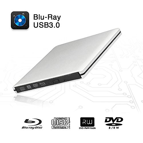 External Blu-Ray DVD Drive USB 3.0 Portable Ultra-Thin 3D CD BD Blu-ray Player/Writer/Burner BD-ROM Used for Various Brand Computer PC Desktop Laptop-Does not include tablets (Silver)