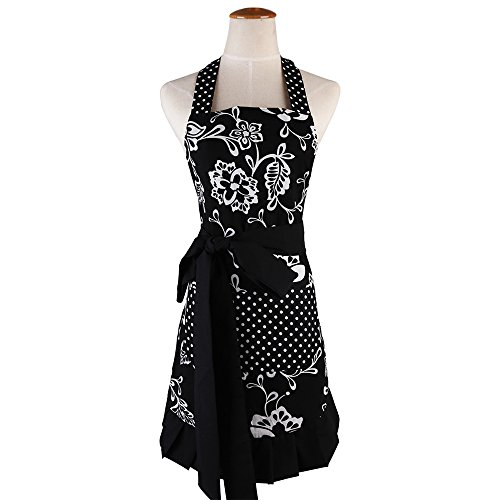 Apron for Women with Pockets, Extra Long Ties Floral Apron