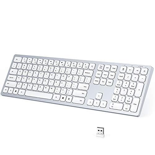 USB Wireless Keyboard, seenda 2.4GHz Rechargeable Compact Full-Size Keyboard with Numeric Keypad for Computer, Desktop, PC, Laptop, Surface, Smart TV and Windows 10/8/ 7