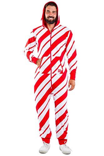 Tipsy Elves Cozy Men's Candy Cane Jumpsuit - Comfy Candy Cane Cozy Christmas Onesie: L