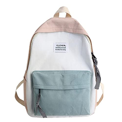 Swyss Simple Solid Color Backpack Japan Korea Style Teenagers Casual Student School Bag Waterproof Nylon Travel Daypack ,Pink