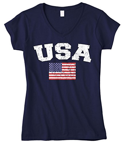 Cybertela Women's Faded Distressed USA Flag Fitted V-Neck T-Shirt (Navy Blue, Medium)