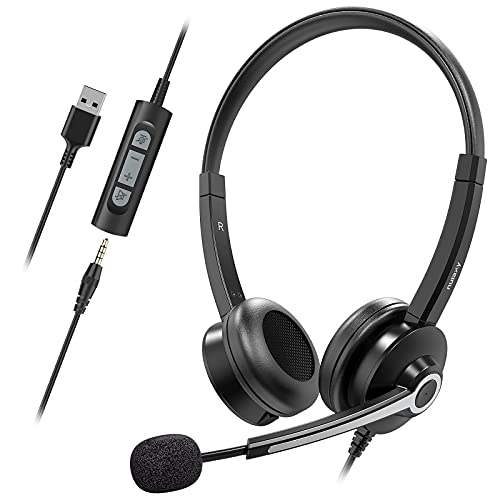 Nulaxy USB Headset with Microphone,Business Wired Headset, 3.5mm Jack Headphones with Noise Cancelling Microphone,Inline Control, PC Headset for Skype, Webinar, Office, Classroom, Home