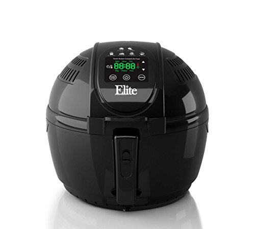 Elite Platinum EAF-1506D Electric Digital Hot Air Fryer Oil-Less Healthy Cooker Timer & Temperature Controls, 26 Recipe Cookbook, 3.5 Quart, Black