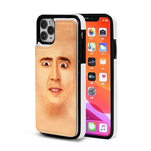 DALUFANG Nicolas Cage Face, Wallet Case with Card Holder Compatible with iPhone 11 Pu Leather Magnetic Kickstand Shockproof Removable Flip
