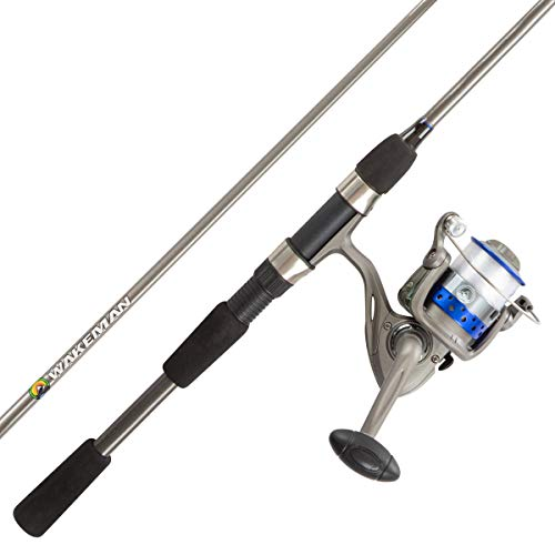"""Fishing Rod & Reel Combo -6'6"""" Fiberglass Pole, Spinning Reel- Bass, Trout & Lake Fish-Spooled with 10lb Test-Action Series by Wakeman Outdoors (Blue)"""