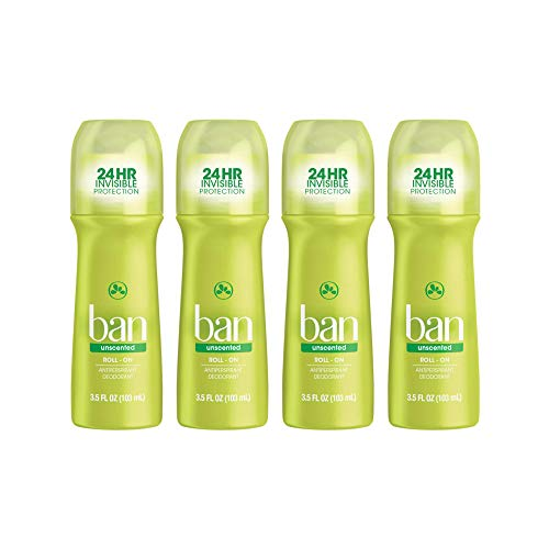 Ban Ban roll-on antiperspirant deodorant, unscented, 3.5-ounce bottles (pack of 4), 4 Count