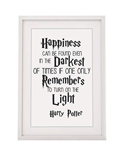 Harry Potter Inspired 'Happiness Can Be Found in The Darkest of Times.' Quote Framed Print | 12x10' Glazed Wall Art Decor Frame with Mount