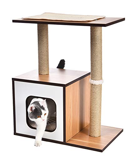 AmazonBasics Dual Scratching Post Wooden Cat Tree Furniture - 24 x 15 x 29 Inches