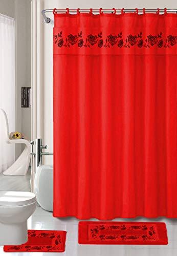 Luxury Home Collection 18 Pc Bath Rug Set Embroidery Non-Slip Bathroom Rug Mats And Rug Contour And Shower Curtain And Towels And Rings Hooks And Towels New (Red)