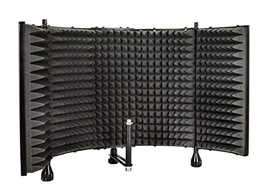 Monoprice Microphone Isolation Shield - Black - Foldable With 3/8' Mic Threaded Mount, High Density Absorbing Foam Front & Vented Metal Back Plate - Stage Right