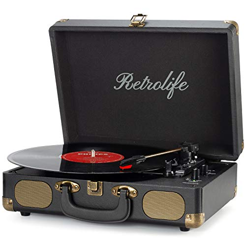 Vinyl Record Player 3-Speed Bluetooth Suitcase Portable Belt-Driven Record Player with Built-in Speakers RCA Line Out AUX in Headphone Jack Vintage Turntable