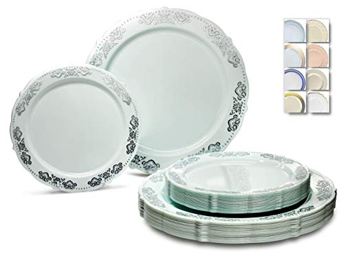 ' OCCASIONS ' 50 Plates Pack (25 Guests)-Vintage Wedding Party Disposable Plastic Plate Set -25 x 10.25'' Dinner + 25 x 7.5'' Salad /dessert plates (Portofino Mint Green & Silver)