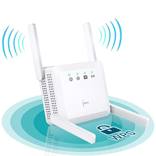 WiFi Extender - WiFi Repeater, WiFi Booster Covers Up to 2500 Sq.ft and 30 Devices, Up to 1200Mbps, 2.4G&5G WiFi Repeater with 2 Ethernet Port, Wireless Signal Booster for Home