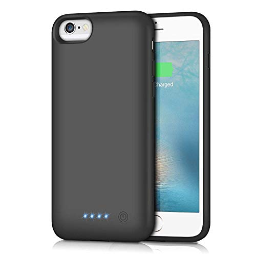 Battery Case for iPhone 6S / 6, Gixvdcu 6000mAh Rechargeable Protective Portable Charging Case for Apple iPhone 6 & 6S (4.7 Inch) Extended Charger Pack Power Bank - Black