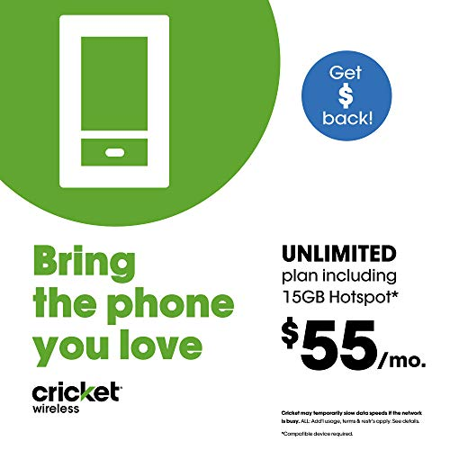 $55 Monthly Subscription for Cricket Unlimited Talk/Text/Data includes 15GB Mobile Hotspot plan + SIM Kit