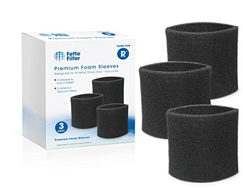 Fette Filter - Foam Sleeve Vacuum Filter Compatible with ShopVac 90304 and 9058500 (3 Packs Sleeves)