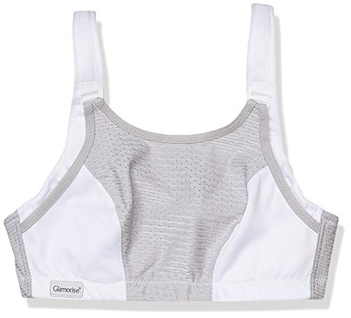 Glamorise womens Full Figure Plus Size Adjustable Double Layer Wirefree Sport Bra #1166, White/Gray, 42DD