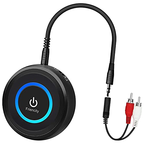 Friencity Bluetooth 5.0 Transmitter Receiver for TV, aptX Low Latency Wireless Audio Adapter for Home Stereo PC DVD Radio Projector Xbox PS4 w/ RCA 3.5mm Aux Jack, Pair 2 Headphones Speaker, No Delay