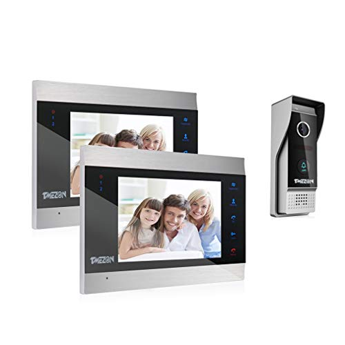 TMEZON Wired Video Door Phone Visual Intercom Doorbell System with Camera Touch Screen Monitor IR Night Vision TFT Color LCD Display