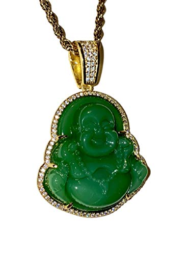 Iced Laughing Buddha Green Jade Pendant Necklace Rope Chain Genuine Certified Grade A Jadeite Jade Hand Crafted, Jade Necklace, 14k Gold Filled Laughing Jade Buddha Necklace, Jade Medallion, Fast Prime Shipping Medusa Iced Green Buddha Rope Chain Necklace 18' (18)
