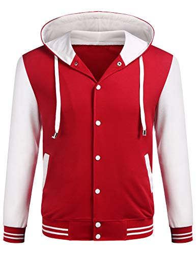 COOFANDY Mens Cotton Varsity Baseball Jacket Casual Hoodie Letterman Jackets