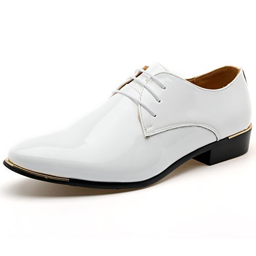 z-joyee Mens Patent Leather Tuxedo Dress Shoes Lace up Pointed Toe Oxfords Formal Wedding Shoes, White, US 10