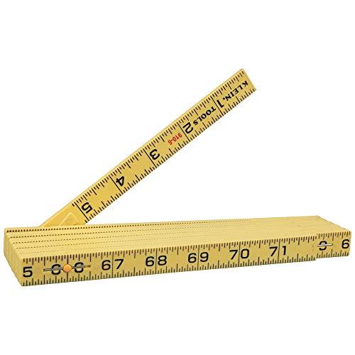 Klein Tools 910-6 Folding Ruler 6-Foot, Durable Fiberglass, Inside Reading