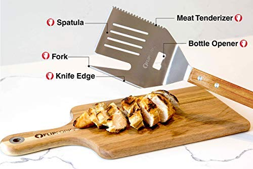 FlipFork Boss - 5 in 1 Grill Spatula With Knife and Blade BBQ Tool