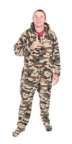 Forever Lazy Footed Adult Onesie - Green Comatose Camo - XS