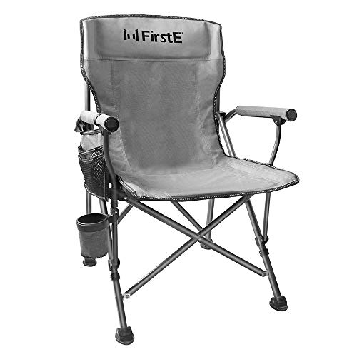 FirstE Portable Camping Chair, Durable Foldable Chair with Soft Foam Pad, Cup Holder and Side Pocket, Outdoor Chair for Beach, Fishing, Lawn, Picnic etc, Support 330lbs