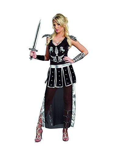 Dreamgirl Women's Glorious Gladiator Royal Warrior Costume, Black, X-Large
