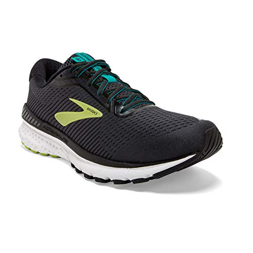 Brooks Mens Adrenaline GTS 20 Running Shoe - Black/Lime/Blue Grass - D - 15.0