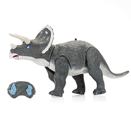 """SainSmart Jr. Remote Control Triceratops Dinosaur Robot 14"""" Long, Electronic Toy with Build-in Speaker and Glowing Eyes, Walking Dino for Kids Age 3 and Up"""