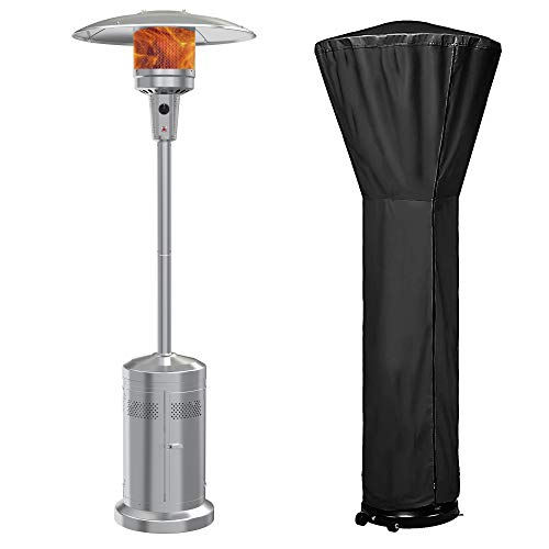 Gas Patio Heater with Wheels And Cover,48,000 BTU of Outdoor Portable LP Propane Commercial Heater ,automatically shuts off gas flow ,with CSA Certified for Garden
