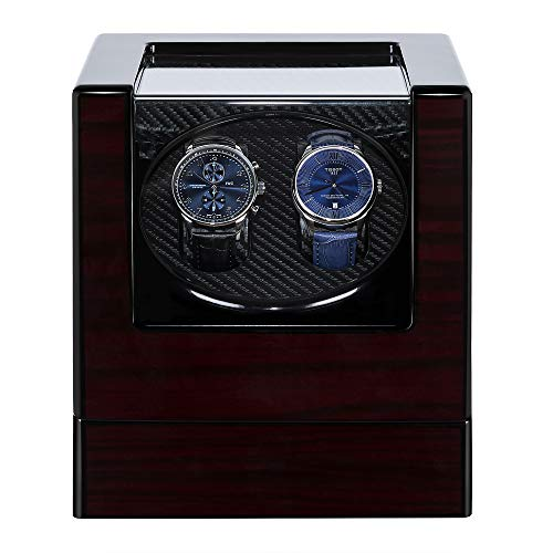 Watch Winder for Automatic Watches, Kalawen Double Watch Winders for Rolex with Quiet Motor, Battery Powered or AC Adapter (Red)