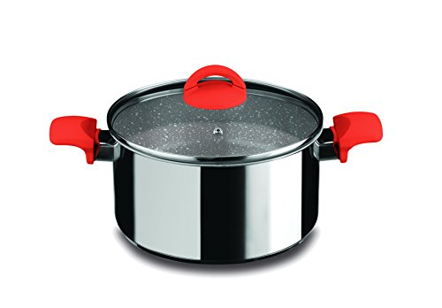 Mepra Fantasia Stone Deep Casserole with Glass Lid - 20cm, Non Stick Cookware with Eterna Stone Coating, Bakelite Handle