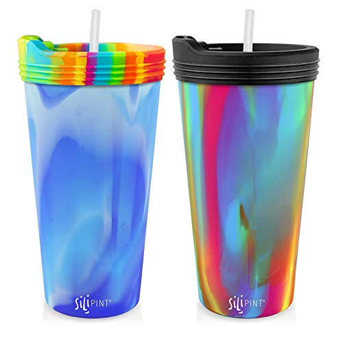 Silipint Silicone Tumbler 2-Pack Cup Set. Unbreakable & Versatile for Travel, Hiking, Camping, Sports & Outdoors. (Includes Arctic Sky/Hippie 22oz Tumbler Cups with Lids & Straws)