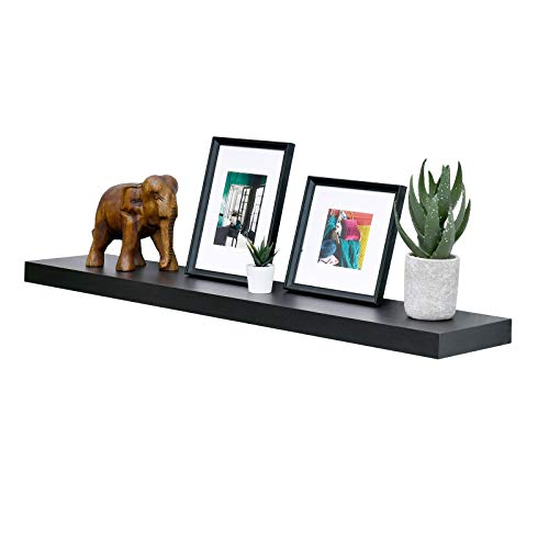 WELLAND 48 inch Espresso Mission Floating Shelves for Wall, Bathroom Wall Mount Shelves, Wood Modern Display Shelves, Book Shelves,for Bedroom,Living Room and Kitchen
