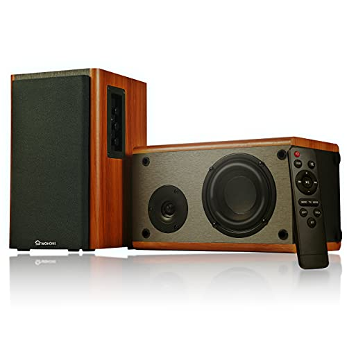 Wohome Bookshelf Speakers Remote Control Bluetooth/RCA/Opt 80W Powered Active Home Theater Speaker (Pair, Wooden Enclosure, Wood Color, 4 Inch Driver, Model S106)