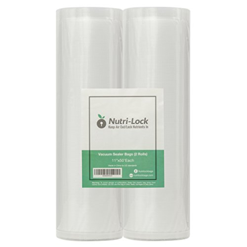 Nutri-Lock Vacuum Sealer Bags. 2 Rolls 11x50. Commercial Grade Food Saver Bags Rolls. Nutri-lock Bags Work with Foodsaver. Perfect for Sous Vide.