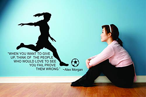 Alex Morgan Wall Decals for Kids Bedrooms Unique US National Girls Soccer Stickers for Bedroom Sports Designs Vinyl Art Decor for Childrens Walls Cute Girl Alex Morgan Quote Quotes Size (20x20 inch)
