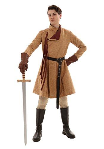 Renaissance Coat Costume for Men Large Brown