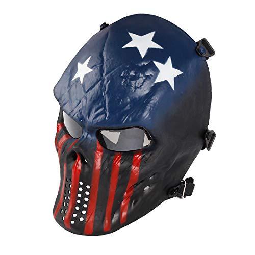 Senmortar Airsoft Mask Full Face Skull Captain Paintball Masks Tactical Grey PC Lens Eyes Protection for Halloween Cosplay Party BBS Gun Shooting Game
