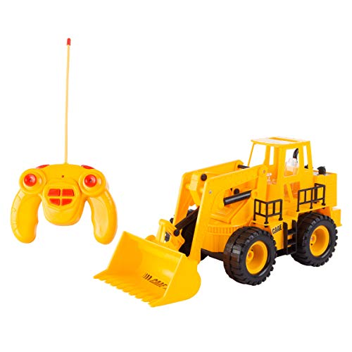 Hey! Play! 80-YF-141F147 Remote Control Front Loader- 1: 24 Scale, Fully Functional RC Bulldozer, Construction Toy Vehicle with Lifting Bucket, Lights & Sound, Brown/a