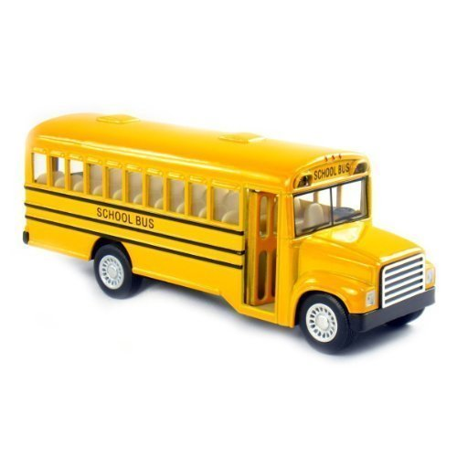 6' Die Cast Long-Nose School Bus with Pull-Back Action and Open-able Doors