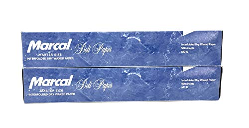 Marcal Deli Wrap Interfolded Wax Paper. Dry Waxed Food Liner Master Size 12 Inch by 10.75 Inch. 1000 Total Sheets (2 x 500 Packs)