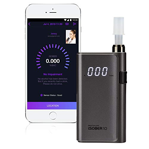 iSOBER 10 Breathalyzer | HSA/FSA Eligible | DOT, NHTSA Compliant Alcohol Tester | Suracell FuelCell Sensor Technology | The Sensor Status Check System Installed