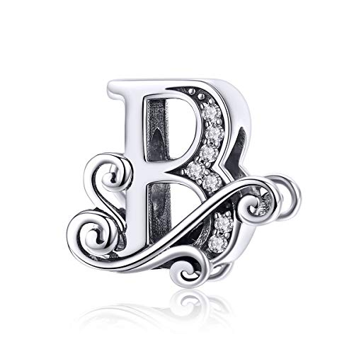 Solid 925 Sterling Silver with Cubic Stones, Complete A~Z Gift Options Alphabet Charm Letter Beads fit Pandora European Bracelets (B)