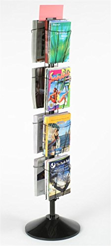 60 Inch Rotating Wire Magazine Rack with Eight Pockets, Includes Sign Holder - Black